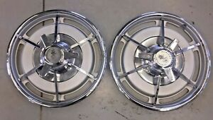 Vintage Original 1963 Corvette Early Frosted Hubcap Lot Of 2