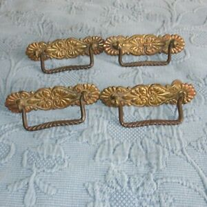 4 Antique Victorian Fancy Metal Drawer Handles Or Pulls Bolts