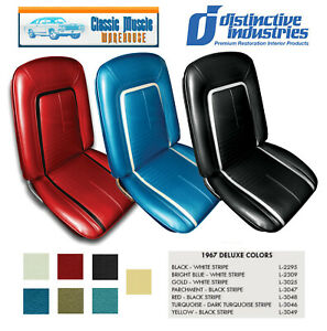 1967 Camaro Deluxe Front Bucket Seat Upholstery In Any Color By Distinctive Ind
