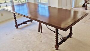 Large Vintage Jacobean Style Rustic Dining Trestle Table 2 Leaves Hall Console