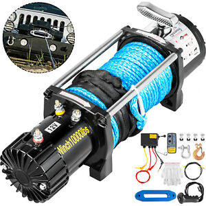 10000lb Electric Winch 12v Synthetic Cable Off Road Atv Utv Truck Towing Trailer