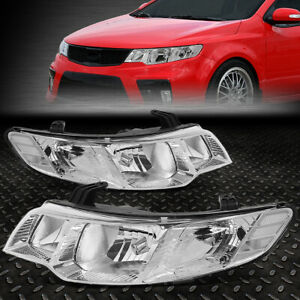 For 10 13 Forte Koup Chrome Housing Crystal Lens Headlight Replacement Head Lamp