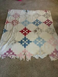 Vintage Hand Stitched Shabby Chic Tattered Large Quilt Cutter