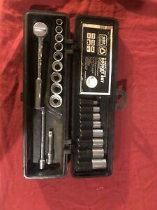 Bonney 3 8 Drive 6 12 Pt 20 Piece Vintage Socket Set W box B 80308