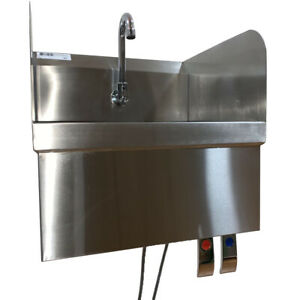Wall Mounted Hand Sink With Knee Switch Stainless Steel With Sides 17x15x14