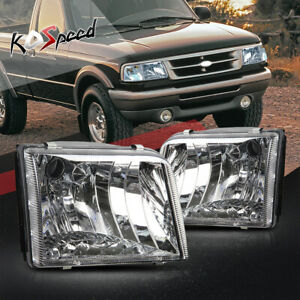 Chrome Clear Housing Head Lights Headlamps Fits 93 97 Ford Ranger Pickup Truck
