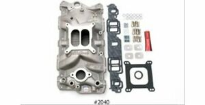 Edelbrock Sbc Gm Chevy 350 Aluminum Intake Manifold 2040 With Gaskets And Bolts