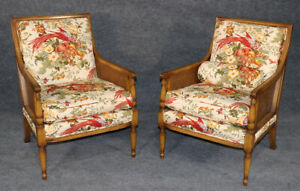 Gorgeous Pair Custom Upholstered Embroidered French Louis Xvi Style Cane Chairs