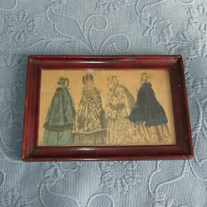 Antique Victorian Wooden Picture Frame Fashion Print Old Wavy Glass