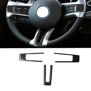 Carbon Fiber Interior Steering Wheel Sticker Cover For Ford Mustang 2009 2013