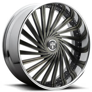 4 28 Dub Wheels Dazed S241 Black Machined With Ddt Chrome Lip Rims b6