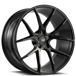 4 22 Staggered Savini Wheels Black Di Forza Bm14 Gloss Rims b9