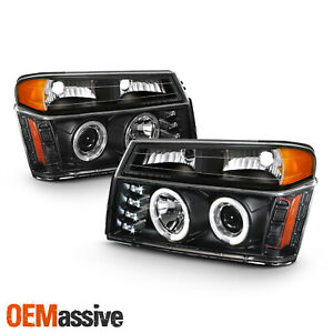 For 04 12 Colorado Canyon Led Dual Halo Projector Black Headlight Bumper Signal