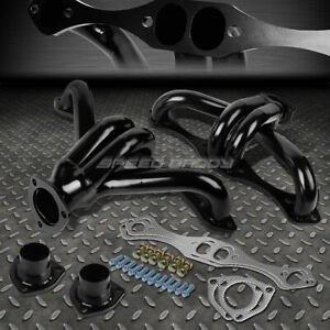 For Chevy gmc Small Block 305 454 V8 Black Steel Hugger Header exhaust Manifold