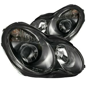 Anzo Projector Headlights Black Clear For 01 07 Mercedes Benz C230 C240 C280