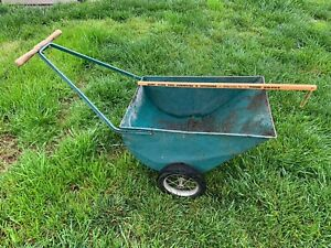 Vintage Metal Garden Cart Lawn Wheel Barrow Rustic