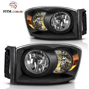 Yitamotor For 2006 2008 Dodge Ram 1500 2500 3500 Headlamps W Amber Reflector
