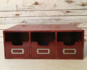 Office Cherry Wood Desk Top Organizer Wood Table Top Drawer File Box Rolodex