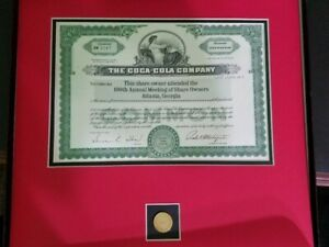 Coca-Cola 100th Shareholder Meeting Stock Certificate & Pin  NIB (2 available)