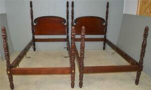 17855 Pair Of Early Acanthus Carved Twin Size Beds