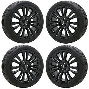 20 Lincoln Continental Gloss Black Wheels Rims Tires Factory Oem Set 4 10091