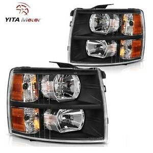 Headlights Assembly For 2007 2013 Chevy Silverado 1500 2500hd 3500hd Amber Lamp