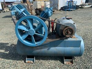 Compressor Air Chicago Pneumatic Used Fair Condition Blue In Color Air Tank