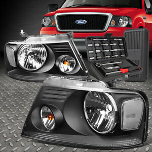 For 04 08 Ford F150 Lincoln Mark Lt Black Housing Clear Side Headlight Tool Set