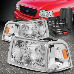 For 01 11 Ford Ranger Chrome Housing Amber Corner Headlight Head Lamps Tool Set
