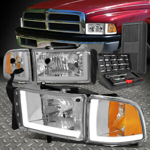 For 94 02 Dodge Ram 1500 Led Drl Chrome Housing Amber Corner Headlights tool Set