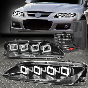 For 03 05 Mazda 6 Led Sequential Quad Halo Black Housing Headlights Tool Set