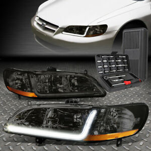 For 98 02 Honda Accord Led Drl L bar Drl Smoked amber Corner Headlights tool Set