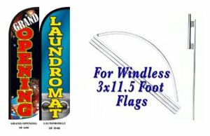 Grand Opening Laundromat Windless Swooper Flag With Complete Kit