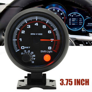 3 75 Universal Car Tachometer Tacho Gauge Meter Led Shift Light 0 8000 Rpm