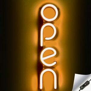 Vertical Led Neon Open Sign For Business Blue