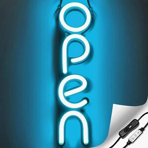 Vertical Led Neon Open Sign For Business Ice Blue