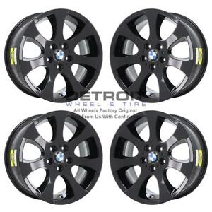 18 Bmw 323i Gloss Black Wheels Rims Factory Oem 59586 2006 2012 Set