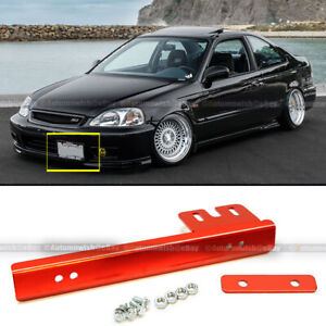 Universal Fit Red Aluminum Front Bumper License Plate Mount Relocate Bracket