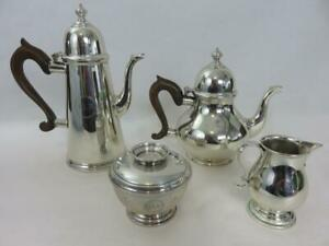 Ensko New York Sterling Silver 4pc Tea Set Teapot Coffee Pot Creamer Sugar Bowl