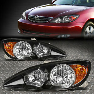 For 02 04 Toyota Camry Black Housing Amber Corner Headlight Replacement Lamps