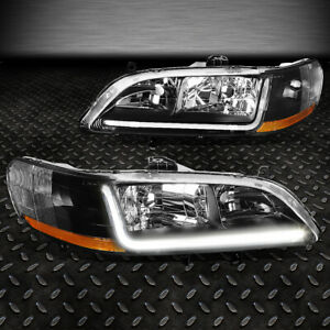 For 1998 2002 Honda Accord Pair Black Housing Amber Corner Headlight W led Drl