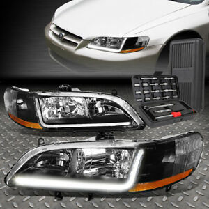 For 98 02 Honda Accord Led Drl L bar Drl Black amber Corner Headlights tool Set