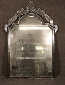 Antique Patinated Venetian Italian Glass Etched Cut Glass Wall Mirror C1920
