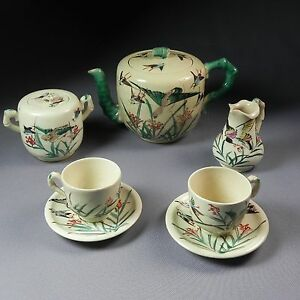 Antique Signed Kinkozan Satsuma Tea Set Teapot Sugar Creamer 2 C