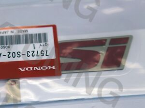 New Oem Honda 99 00 Civic B16a2 Dohc Vtec Em1 Red si Trunk Emblem Decal Badge