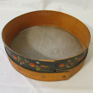 Antique Pennsylvania Dutch Tole Painted Large 10 Bent Wood Screen Grain Sifter