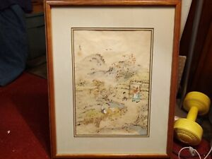 Antique Chinese Ink Watercolor Farmer On Rice Paper Painting Signed