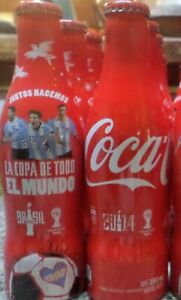 SET OF 3 COCA COLA ALU EMPTY  BOTTLES FIFA WORLD CUP BRAZIL 2014 FROM ARGENTINA