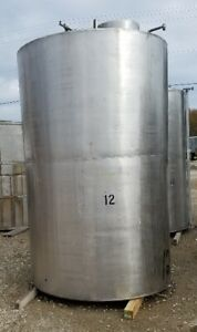 2000 1900 Gallon Stainless Steel Vertical Storage Tank Used In Alcohol Bottling