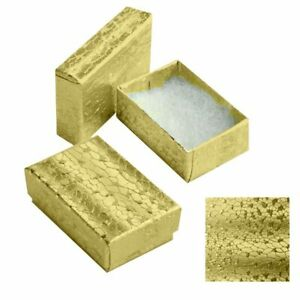 100 Gold Foil Cotton Filled Jewelry Ring Earring Packaging Gift Boxes